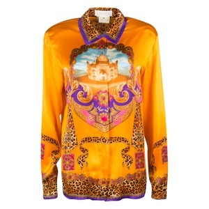 Escada Saffron Orange Taj Mahal Printed Silk Long Sleeve Blouse M