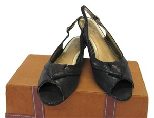 Hush Puppies Great Condition 8.50m BLACK Wedges