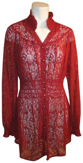 Item - Wine Sheer Lace Jacket Short Night Out Dress Size 16 (XL, Plus 0x)