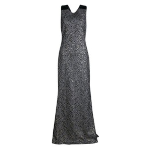 Badgley Mischka Black and Gold Collection Lace Bow Detail Sleeveless Gown S Casual Wedding Dress Size 6 (S)