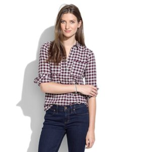 Madewell Plaid Button Front Button Down Shirt Maroon and Gray