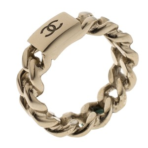 Chanel CC Logo Gold Tone Chain Ring Size 52.5
