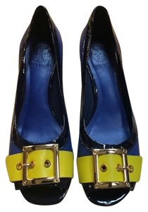 Tory Burch Gold Buckle At Toe Open Toe Royal blue/banana yellow Pumps