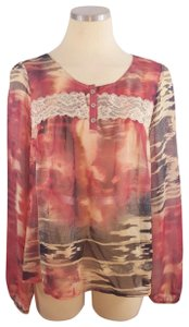 Daytrip Sheer Lace Anthropologie Top Red
