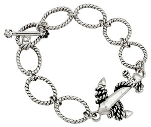 Nautical By The Sea Antiqued Silver Anchor Toggle Link Bracelet