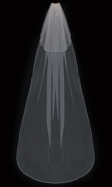 Item - Ivory/Silver Long Two Layer Cathedral with Beaded Edge Bridal Veil