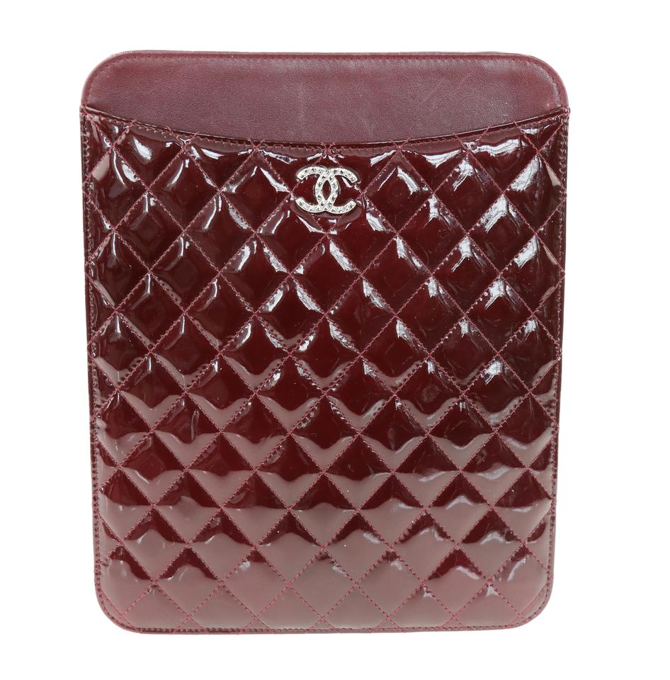 d5834f4d03580e Chanel Red Patent Quilted Ipad Case Tech Accessory - Tradesy
