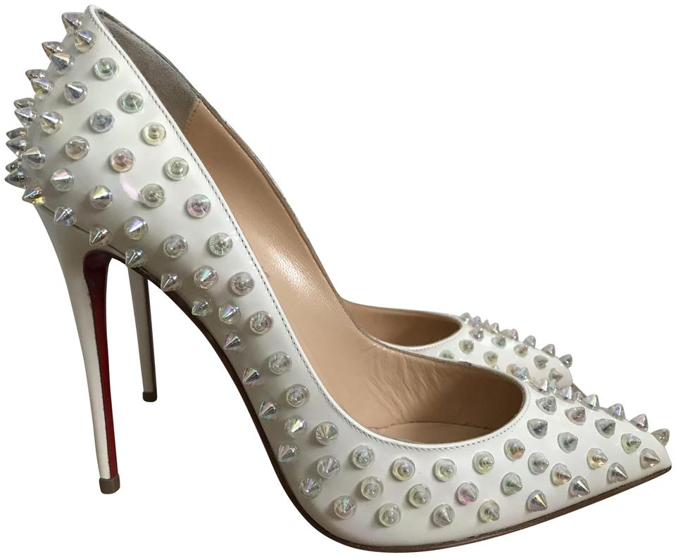 3ec48b4df8ab Christian Louboutin White Pigalle Follies Spikes Pointed Pumps Size EU 37.5  (Approx. US 7.5) Regular (M