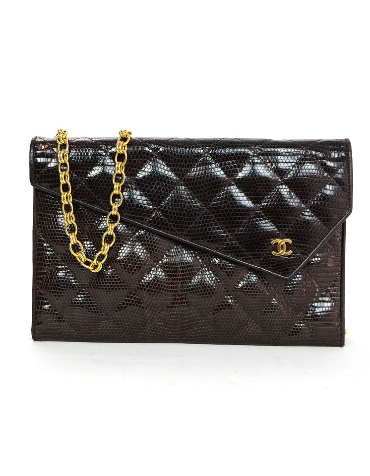 Chanel Clutch Vintage Quilted Clutch  Brown Lizard Skin Leather ... 62dea65bffc1c