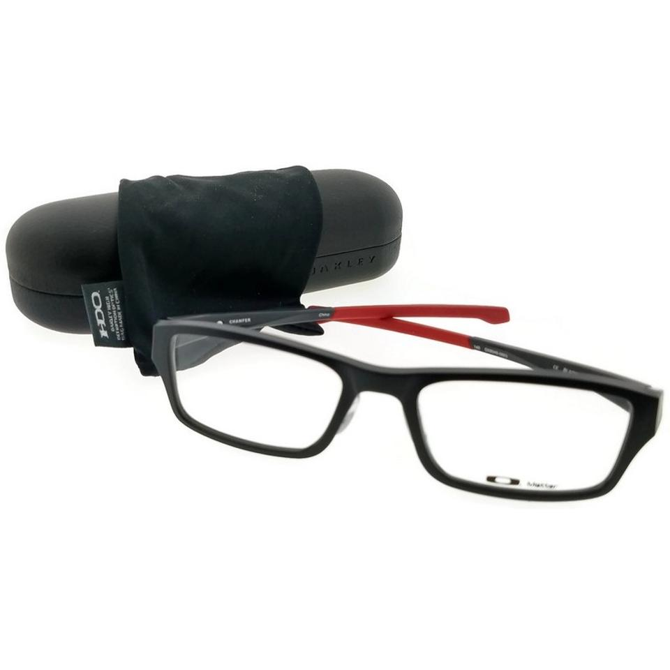 73371bdcf86d Oakley Black Frame Ox8045-06-53 Chamfer Men s Clear Lens Genuine Eyeglasses