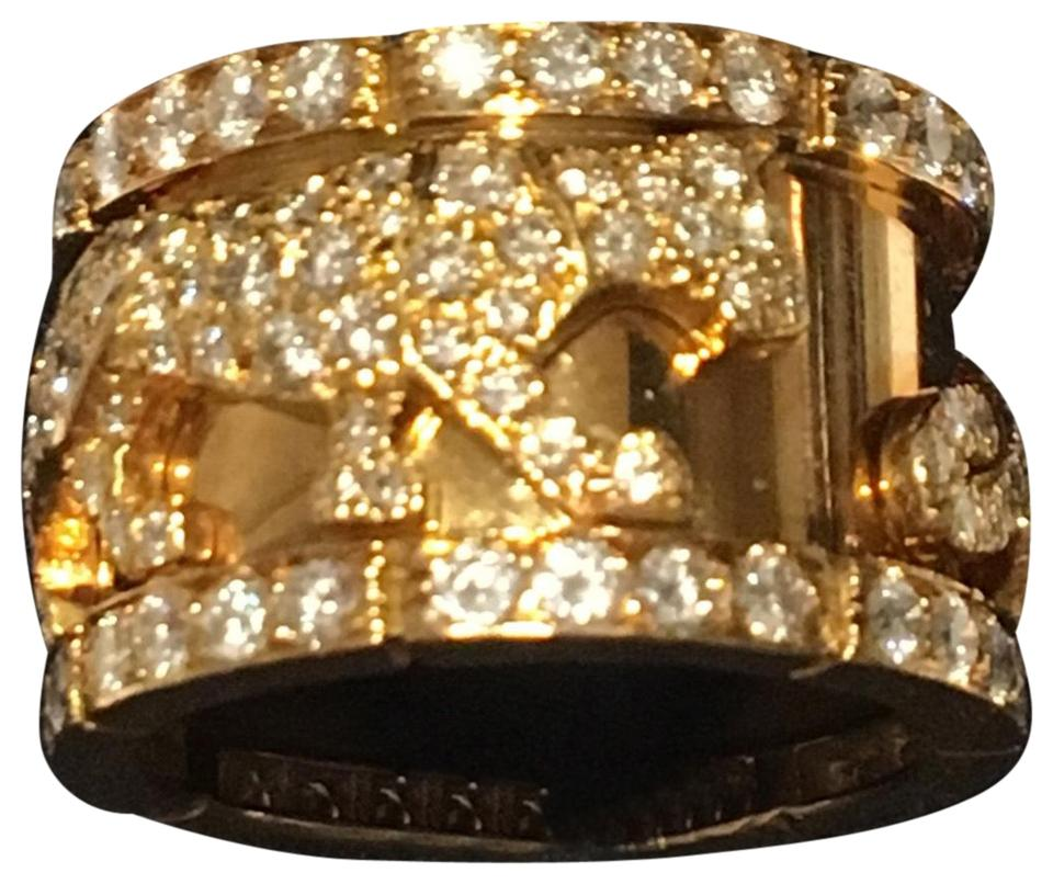 7088a8ee851c6 Cartier Walking Panthers Diamond 18kt Yellow Gold Wedding Band Size 52 Ring