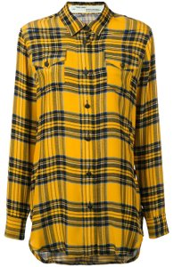 Off-White™ Off-white Virgil Abloh Woman Collection Off White Button Down Shirt Yellow/Plaid
