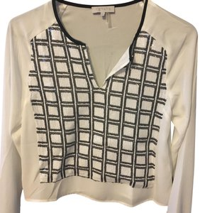 1.STATE Top cream with black and cream sequins