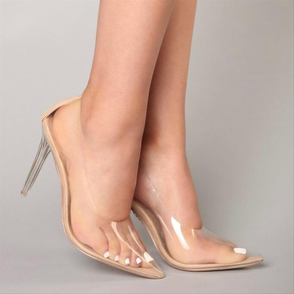 Nude Transparent Clear Pointed Pointy Toe Slip On Stiletto High Pumps Size US 9 Regular (M, B)