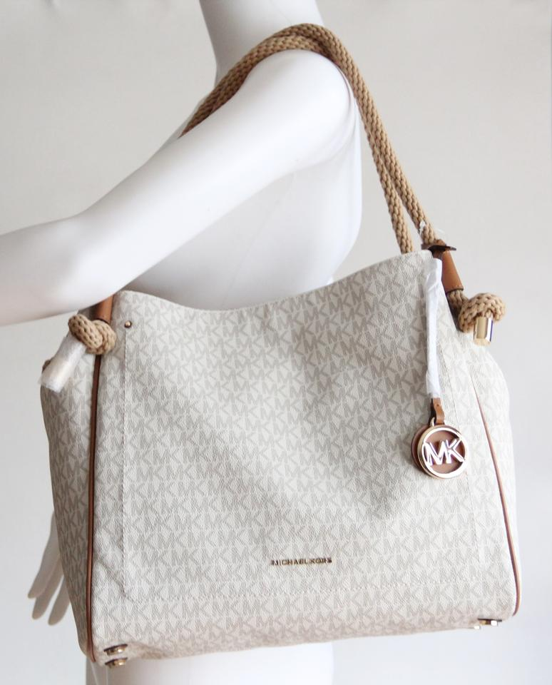 1be53fa62620 Michael Kors Signature Rope Satchel in White Image 11. 123456789101112