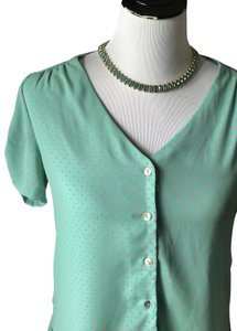 Sweet Rain Vintage 1940's Feminine Polka Dot Modclth Top Mint Green Pink