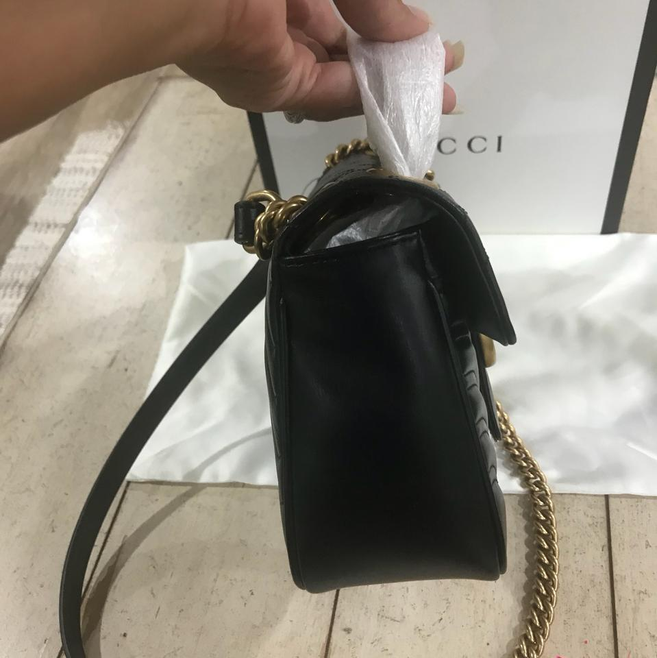 2d9178a4461e Gucci Marmont New Gg Small Matelasse. Box Dustbag Copy Receipt Black  Chevron Leather with A Heart On The Back. Shoulder Bag - Tradesy