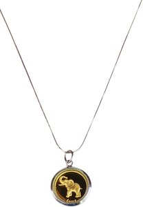 Samuel B. 24k Gold Inlay Elephant Double Sided Coin Sterling Silver Necklace