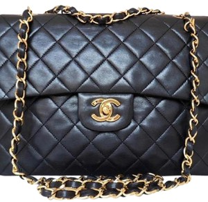 57814458492b Added to Shopping Bag. Chanel Shoulder Bag. Chanel Double Flap Flap Quilted  Square Classic Black Lambskin Leather ...