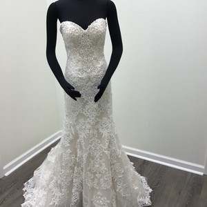 Sottero and Midgley Ivory/ Nude Lace Tulle Organza Stella Sexy Wedding Dress Size 6 (S)