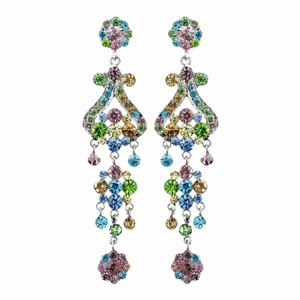 Elegance by Carbonneau Silver Multi Colored Earrings