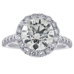 Avital & Co Jewelry Platinum 4.90 Carat Round Cut Diamond Halo Engagement Ring
