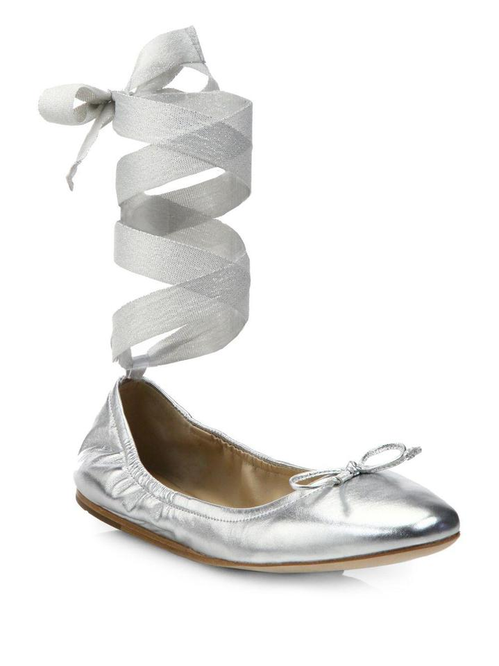 accf5ea4a7f Saks Fifth Avenue Silver Metallic Leather Ankle-wrap Ballet Flats ...