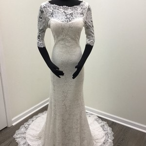 Maggie Sottero Antique Ivory Lace Mckenzie Vintage Wedding Dress Size 8 (M)