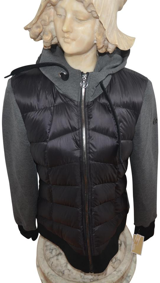 b120e9a41116 Michael Kors Black Charcoal Quilted Hooded Mixed Media Down L Jacket ...