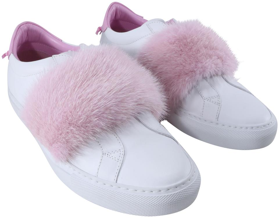 9b751de6a5f Givenchy White Light Pink Paris Fur Urban Street Sneakers B152 ...
