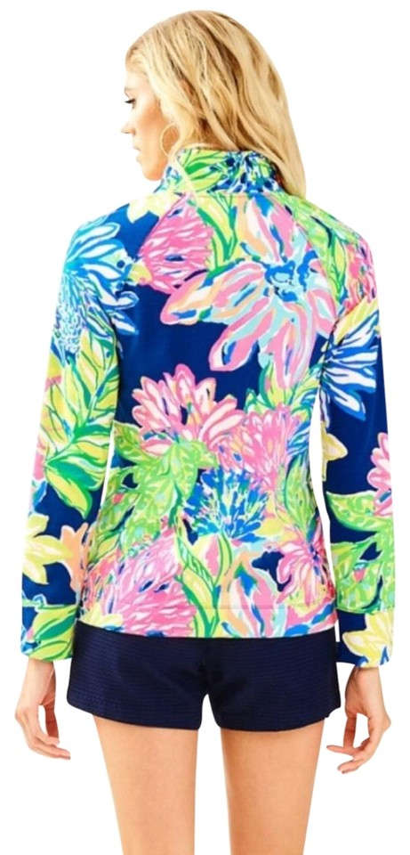 07ad9d73bfcece Lilly Pulitzer Skipper Popover In Travelers Palm Blue Sweater - Tradesy