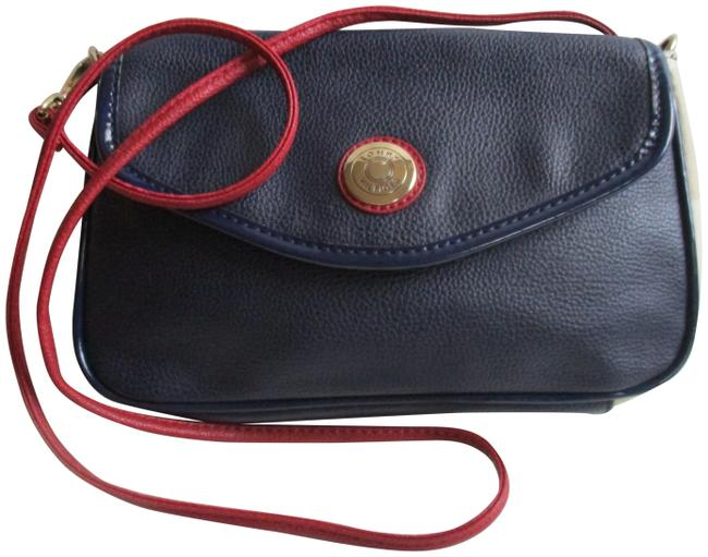 Item - Color Blocked Red White and Blue Faux Leather Shoulder Bag