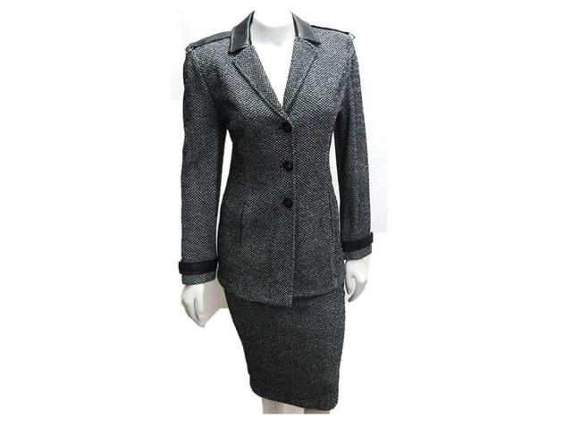 Item - Black/White Knit & Tweed Jacket 8 Leather Trim Skirt Suit Size 6 (S)