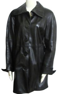Coldwater Creek Leather Jacket Leather Orig Trench Coat