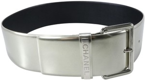 Chanel Chanel Gray Silver 80 32in Extra Wide Large Buckle Logo Belt B154