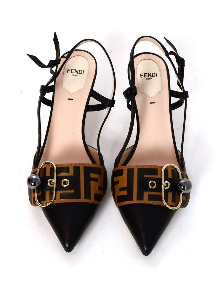 58d398b99cc Fendi Black Brown Logo Buckle-strap Leather Slingback Pointed Pumps ...