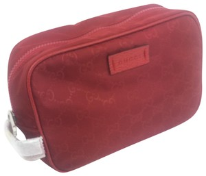 Gucci Gucci #510338 GG Red Nylon Canvas Travel Toiletry/ Bag