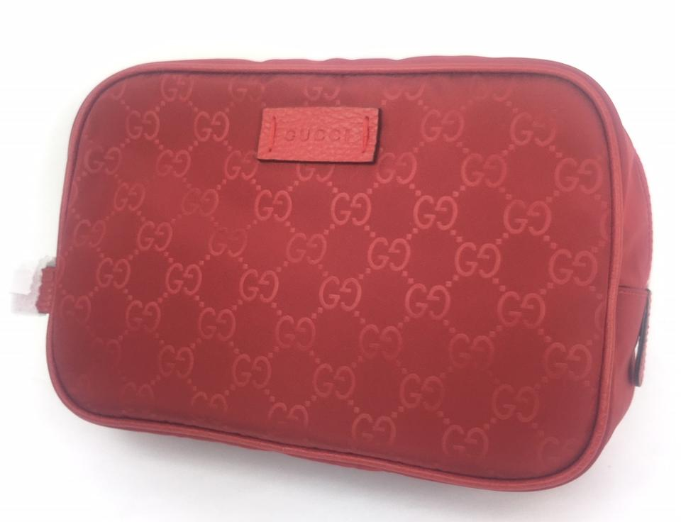 098d084608 Gucci Red #510338 Gg Nylon Canvas Travel Toiletry/ Cosmetic Bag 26% off  retail