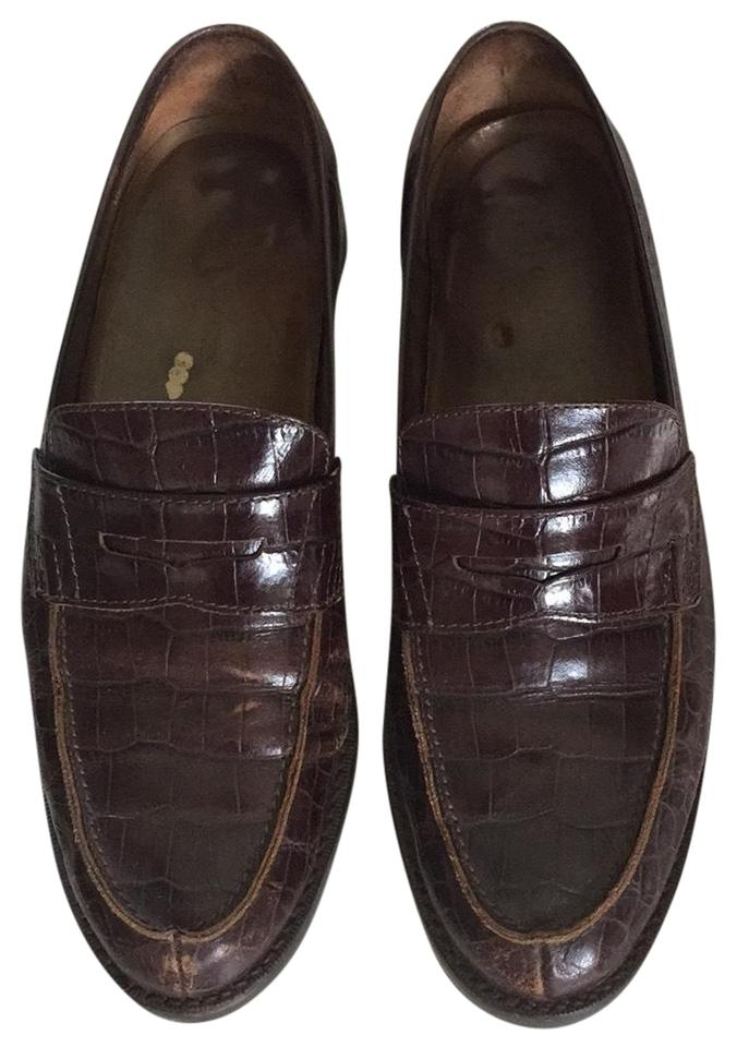 Ralph Embossed Lauren Brown Crocodile Embossed Ralph Leather Loafers Flats ef3cfc