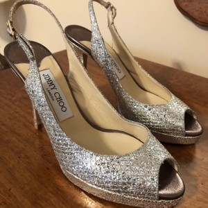 Jimmy Choo Silver Sparkly Slingback Formal Size US 7 Regular (M, B)