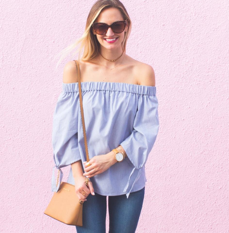 f460596db1d0fb Topshop Tie Sleeves Stripe Off The Shoulder Blue and White Top - Tradesy