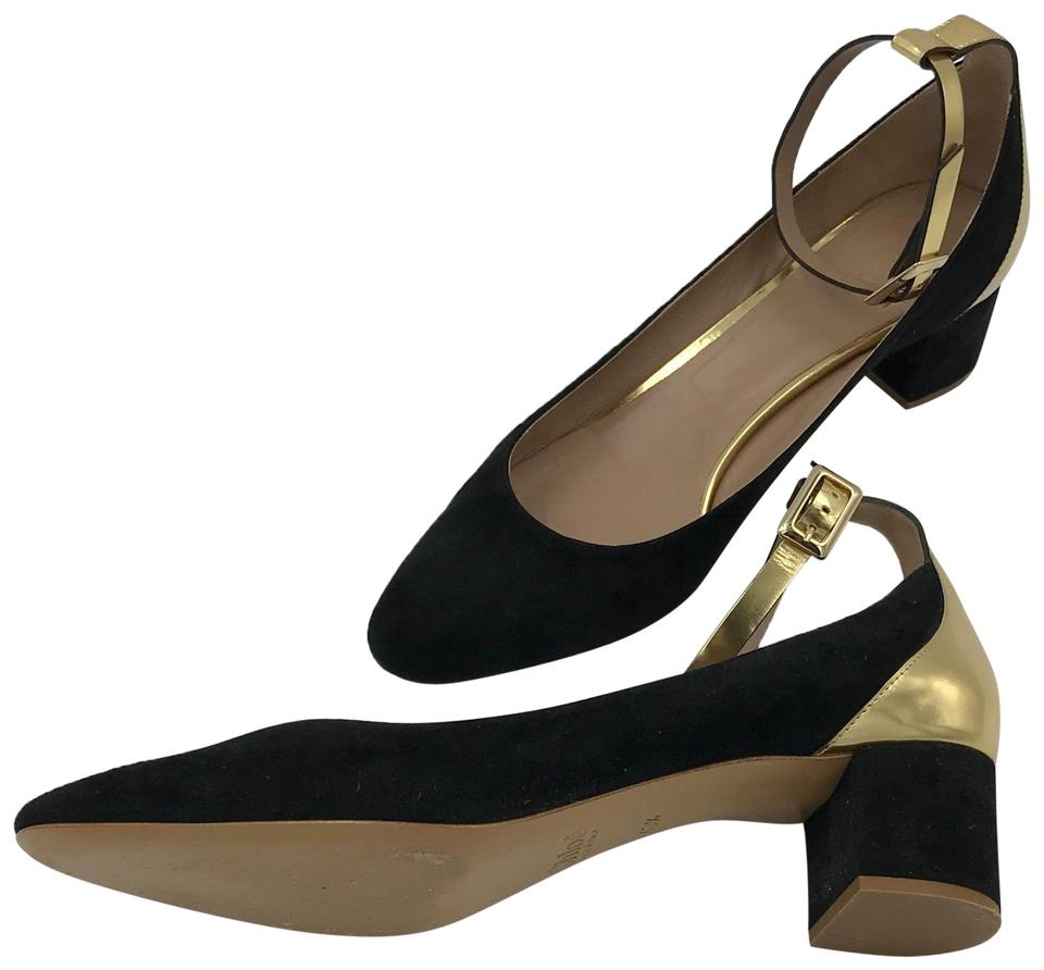 1ce6e10101a1 Chloé Black Suede with Gold and Ankle Strap Pumps Size EU 40.5 ...