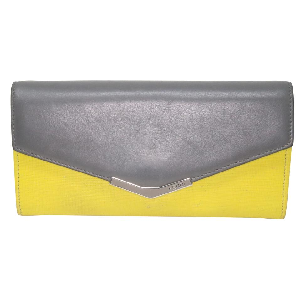 4aebf24d0f91 Fendi Neon Bright Yellow and Grey Classic Leather Continental Envelope  Wallet