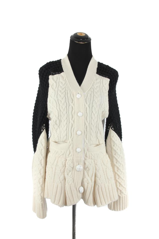 2f5f241da8 sacai Black   Cream Wool Knit Cardigan Size 8 (M) - Tradesy