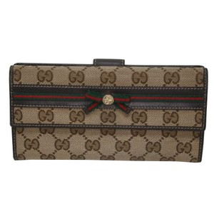 Gucci Classic GG Canvas Leather Web Bow Detail Flap Wallet