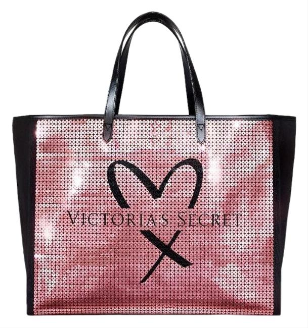 Item - Showstopper Sequin Black/Pink Canvas Tote
