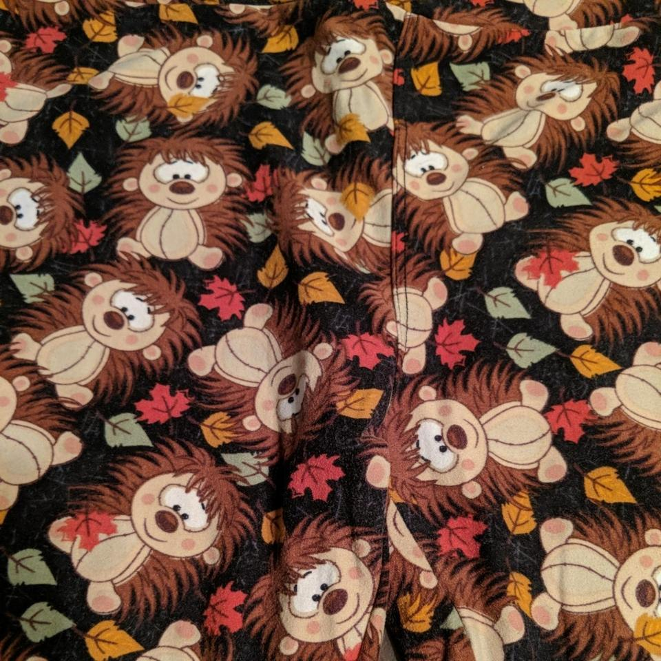 a885d7ec8c2241 LuLaRoe Fall Colors with Black Background Hedgehog Leggings. Size: OS (one  ...
