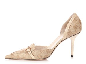 Gucci Gc.p0822.21 Tan Monogram Loafter Beige Pumps