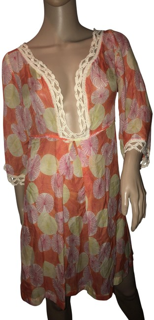 Item - Orange Pink Yellow and Cream Cover-up/Sarong Small Cover-up/Sarong Size 6 (S)