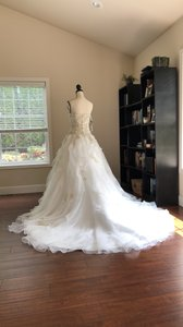 Alfred Angelo Ivory Organza Strapless Formal Wedding Dress Size 6 (S)